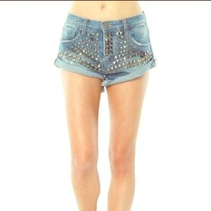 One Teaspoon Ltd Edition Studded Bandit Shorts